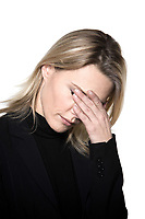 beautiful blond hair woman sad grief headache portrait on studio white isolated background