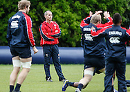 Picture by Andrew Tobin/Tobinators Ltd +44 7710 761829.24/05/2013.Head coach Stuart Lancaster looks on during the England training session at Pennyhill Park, Bagshot ahead of the match against the Barbarians on 26th May 2013.