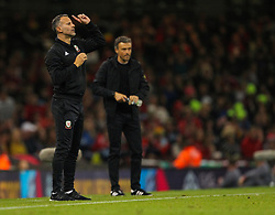 October 11, 2018 - Cardiff City, Walles, United Kingdom - Cardiff, Wales October 11, ..Ryan Giggs manager of Wales gestures during Exhibition Match between Wales and Spain at Principality stadium, Cardiff City, on 11 Oct  2018. (Credit Image: © Action Foto Sport/NurPhoto via ZUMA Press)