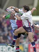 Twickenham, England, The Stoop, Surrey.<br /> 25/10/2003 - Photo  Peter Spurrier<br /> 2003_04 Zurich Premiership Rugby - Harlequins v Sale SharksAlex Sanderson goes for the high ball.