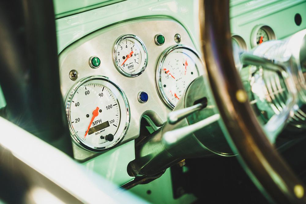 The dashboard of a custom 1960's Landcruiser FJ45, Cruiser Fest 2016, Salt Lake City, Utah.