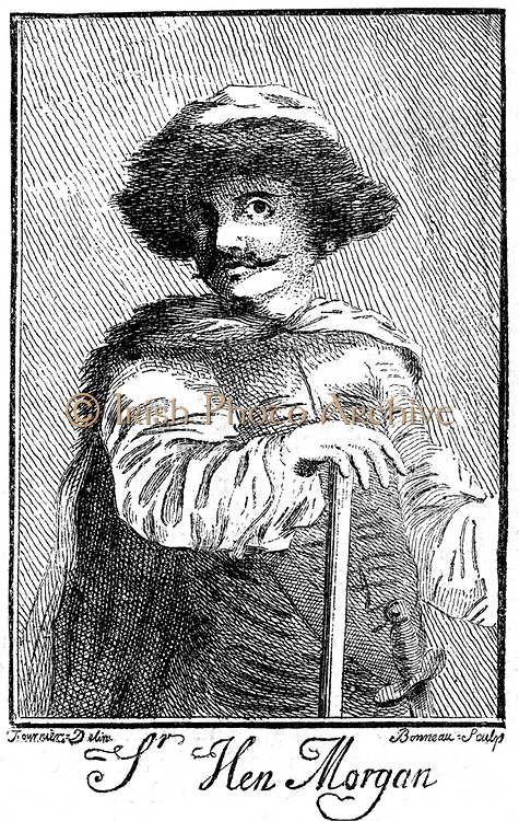 Henry Morgan (1635-1688) notorious Welsh pirate and buccaneer who, with tacit support of English government harried, and plundered Spain's Caribbean colonies. In Anglo-Dutch War 1665-7 he did the same to the Dutch. Captured Panama 1671 after peace agreement with Spain. Arrested and sent to London where knighted by Charles II, who sent him abroad again as deputy governor of Jamaica. After engraving published 1741.