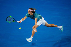 January 19, 2019 - Melbourne, VIC, U.S. - MELBOURNE, VIC - JANUARY 18: STEFANOS TSITSIPAS (GRE) during day five match of the 2019 Australian Open on January 18, 2019 at Melbourne Park Tennis Centre Melbourne, Australia (Photo by Chaz Niell/Icon Sportswire) (Credit Image: © Chaz Niell/Icon SMI via ZUMA Press)