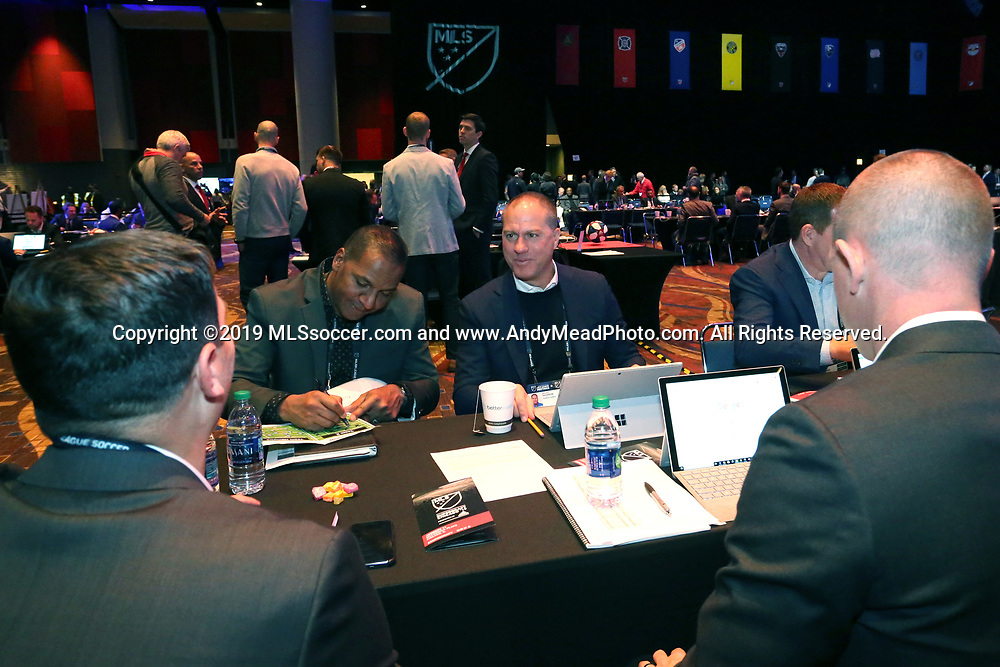 CHICAGO, IL - JANUARY 11: Portland Timbers draft table with head coach Giovanni Savarese (right) and assistant coach Carlos Llamosa (left). The MLS SuperDraft 2019 presented by adidas was held on January 11, 2019 at McCormick Place in Chicago, IL.