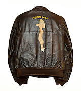 """WWII """"bomber"""" jacket, originally owned by A.B. Clement, who served as a B-24 top gunner. A veteran of 50 missions, he participated in the infamous Ploesti Oil Field raids, and lived to tell the tale..."""