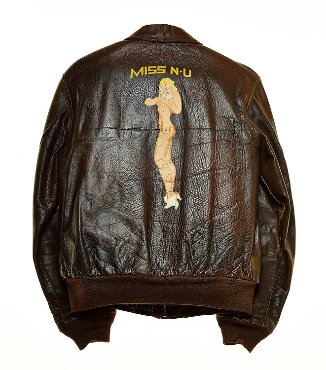 "WWII ""bomber"" jacket, originally owned by A.B. Clement, who served as a B-24 top gunner. A veteran of 50 missions, he participated in the infamous Ploesti Oil Field raids, and lived to tell the tale..."