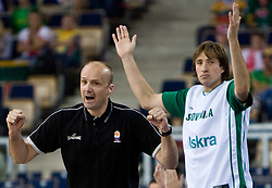 Head coach of Slovenia Jure Zdovc and Matjaz Smodis (8) of Slovenia during the EuroBasket 2009 Group F match between Slovenia and Lithuania, on September 12, 2009 in Arena Lodz, Hala Sportowa, Lodz, Poland.  (Photo by Vid Ponikvar / Sportida)