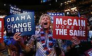 Colorado delegate Kathy Ensz cheers as Montana Gov. Brian Schweitzer addresses the 2008 Democratic National Convention  in Denver, Colorado on August 26, 2008. (UPI)