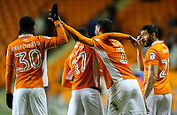 Blackpool's Kelvin Mellor celebrates scoring his side's first goal with Colin Daniel, Viv Solomon-Otabor and Nathan Delfouneso<br /> <br /> Photographer Alex Dodd/CameraSport<br /> <br /> The EFL Sky Bet League One - Blackpool v Blackburn Rovers - Tuesday 28th November 2017 - Bloomfield Road - Blackpool<br /> <br /> World Copyright © 2017 CameraSport. All rights reserved. 43 Linden Ave. Countesthorpe. Leicester. England. LE8 5PG - Tel: +44 (0) 116 277 4147 - admin@camerasport.com - www.camerasport.com