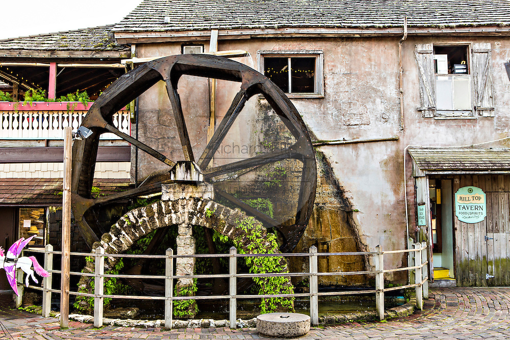 Water wheel in the historic district in St. Augustine, Florida. St Augustine is the oldest city in America.