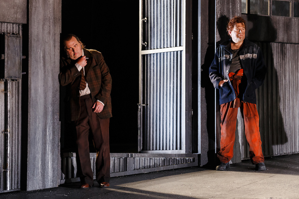 """LONDON, UK, 21 June, 2016. Left to right: Graeme Danby (as Foreman) and Peter Hoare (as Laca Klemen) rehearse for the revival of director David Alden's production of Janacek's opera """"Jenufa"""" at the London Coliseum for the English National Opera. The production opens on 23 June. Photo credit: Scott Rylander."""