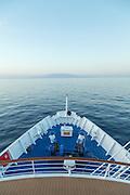 Isabella island as seen from the bow of a cruise ship, Galapagos , Ecuador, South America