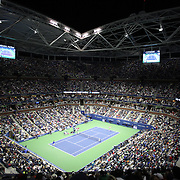 A panoramic view of Arthur Ashe Stadium as Novak Djokovic, Serbia, defeats Roger Federer, Switzerland, in the Men's Singles Final during the US Open Tennis Tournament, Flushing, New York, USA. 13th September 2015. Photo Tim Clayton