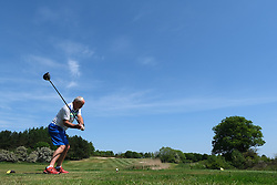 Scottish Golfers Back On The Course, Pumpherston, 29 May 2020<br /> <br /> Golf was one of the activities that were eased during phase one of lockdown restrictions in Scotland today, as long as social distancing rules were observed.<br /> <br /> Golfers at Pumpherston Golf Club in West Lothian were quick to take  advantage of the new rules.<br /> <br /> Pictured: Club member Derek Carruthers tees off at the third.<br /> <br /> Alex Todd | Edinburgh Elite Media