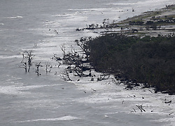 Dramatic beach erosion is seen along St. Catherines Island after Hurricane Irma on Tuesday, September 12, 2017, on the Georgia coast. Photo by Curtis Compton/Atlanta Journal-Constitution/TNS/ABACAPRESS.COM