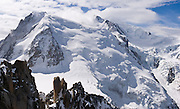 See Mont Blanc (4808 meters or 15,774 feet, the highest mountain in Western Europe) from Aiguille du Midi (12,600 feet) station on the téléphérique (cable car, aerial tramway) from Chamonix, France, the Alps. Mont Blanc (Monte Bianco in Italian) was first climbed in 1786 by two men from Chamonix. Chamonix is an important world center for mountaineering. Panorama stitched from 2 overlapping images.