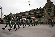 MEXICO CITY, MEXICO - SEPTEMBER 9:  Military wear protective masks during the ceremony of the lowering of the national flag, prior to the celebration of the 210th anniversary of the Independence of Mexico at Zocalo on September 9, 2020 in Mexico City, Mexico. (Photo by Leonardo Casas/Eyepix/Speed Media)