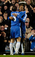 Photo: Ed Godden.<br />Chelsea v Fulham. The Barclays Premiership. 30/12/2006.<br />Didier Drogba (R), celebrates scoring his goal with Chelsea team mate Frank Lampard.