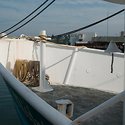 Bow of a fishing trawler in Gloucester, MA harbor on Cape Ann