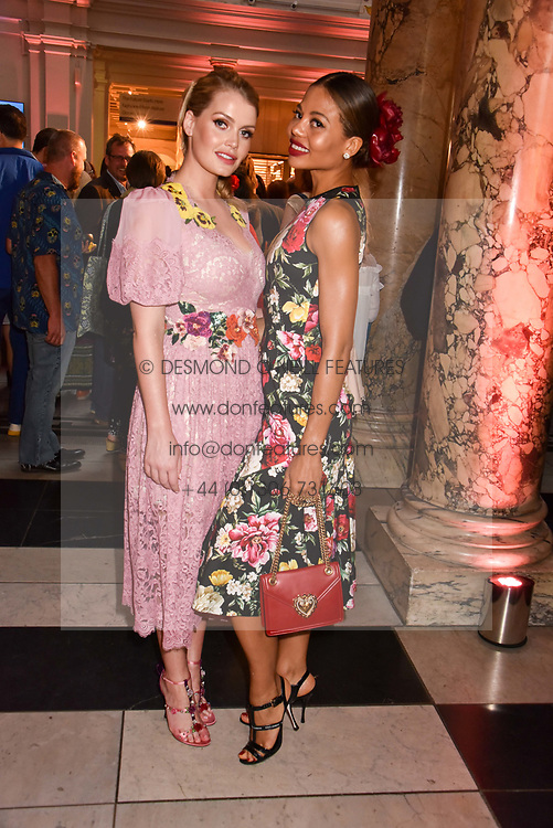 """Left to right, Lady Kitty Spencer and Viscountess Weymouth at the opening of """"Frida Kahlo: Making Her Self Up"""" Exhibition at the V&A Museum, London England. 13 June 2018."""