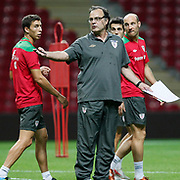 Athletic Bilbao's coach Marcelo BIESLA (F) during their team's training session in Istanbul, Turkey, 24 August 2011. Athletic Bilbao will face Trabzonspor in the UEFA Europa League play off second leg soccer match on 25 August.  Photo by TURKPIX