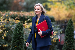 © Licensed to London News Pictures. 05/12/2017. London, UK. Chief Secretary to the Treasury Liz Truss arriving in Downing Street to attend a Cabinet meeting this morning.Yesterday, Brexit negotiations on the Northern Ireland border were stalled when Arlene Foster of the DUP said she could not support commitment to keep Northern Ireland aligned with EU laws. Photo credit : Tom Nicholson/LNP