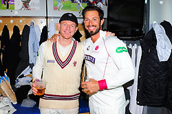 Chris Rogers of Somerset , who retired today poses for photo with Peter Trego.   - Mandatory by-line: Alex Davidson/JMP - 22/09/2016 - CRICKET - Cooper Associates County Ground - Taunton, United Kingdom - Somerset v Nottinghamshire - Specsavers County Championship Division One