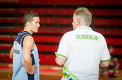 Jaka Lakovic and Bozidar Maljkovic, head coach during training camp of Slovenian National basketball team for Eurobasket 2013 on July 19, 2013 in Sports hall Rogatec, Slovenia. (Photo by Vid Ponikvar / Sportida.com)