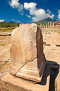 Greek incription on a plynth in the sanctuary of Artimis with the Agora, Magnesia on the Meander arcaeological site, Turkey .<br /> <br /> If you prefer to buy from our ALAMY PHOTO LIBRARY  Collection visit : https://www.alamy.com/portfolio/paul-williams-funkystock/magnesia-site-turkey.html<br /> <br /> Visit our ANCIENT GREEKS PHOTO COLLECTIONS for more photos to download or buy as wall art prints https://funkystock.photoshelter.com/gallery-collection/Ancient-Greeks-Art-Artefacts-Antiquities-Historic-Sites/C00004CnMmq_Xllw