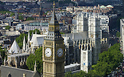 Aerial view Big Ben, the Houses of Parliament, Westminster Abbey famous tourist landmark, London, England, United Kingdom