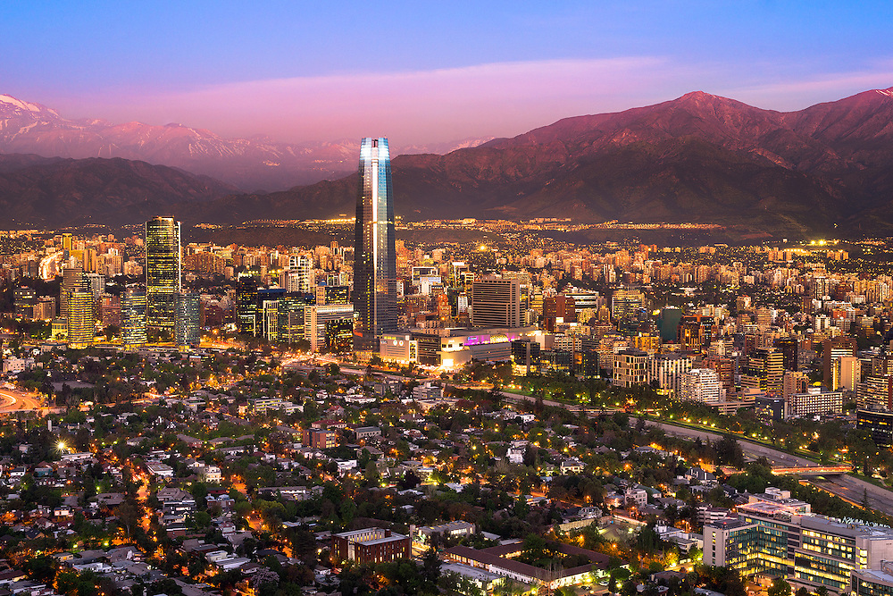 Panoramic view of Santiago de Chile with Costanera Center skyscraper <br /> <br /> For LICENSING and DOWNLOADING this image follow this link: http://www.masterfile.com/em/search/?keyword=700-07784448&affiliate_id=01242CH84GH28J12OOY4<br /> <br /> For BUYING A PRINT of this image press the ADD TO CART button.<br /> <br /> Download of this image is not available at this site, please follow the link above.