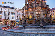 Tribute to singer Karel Gott at Pillar of the Holy Trinity in the Upper Town Square in Olomouc, Czech Republic, Karel Gott, candles, tribute, vertical,