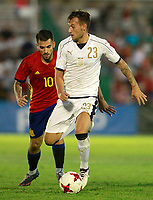 Spain's Dani Ceballos (l) and Italy's Murgia during international sub 21 friendly match. September 1,2017.(ALTERPHOTOS/Acero)