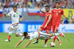 24th June 2017 - FIFA Confederations Cup (Group A) - Mexico v Russia - Aleksandr Samedov of Russia fouls Hirving Lozano of Mexico - Photo: Simon Stacpoole / Offside.