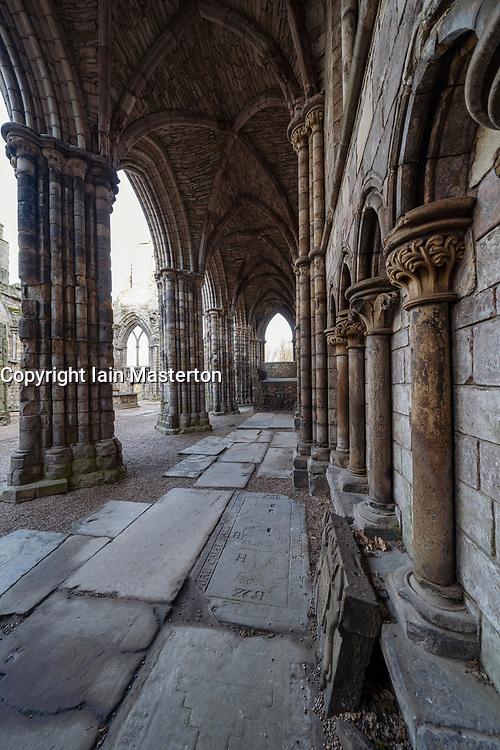 Ruined abbey at Palace of Holyrood in Edinburgh, Scotland, UK