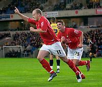 Photo: Daniel Hambury.<br />Oxford Utd v Wrexham. Coca Cola League 2.<br />12/11/2005.<br />Wrexham's Lee McEvilly (L) celebrates his second goal.