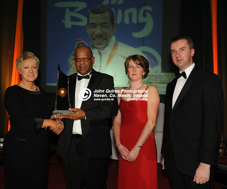 16-02-09. The Meath Chronicle/Cusack Hotels - Meath Sports Personalty of the Year Awards 2008 at the Knightsbrook Hotel, Trim. Co. Meath.<br /> Meath Sports Personality of the Year 2008 award winner: Darren Sutherland.<br /> L to R: Marie Cusack, Cusack Hotel Group. Tony Sutherlad (Representing Darren), Winnie Morris (Drew the winner), Ken Davis, Editor, Meath Chronicle.<br /> Photo: John Quirke / www.quirke.ie<br /> ©John Quirke Photography, Unit 17, Blackcastle Shopping Cte.<br /> Navan. Co. Meath. 046-9079044 / 087-2579454.