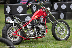 Invited BF11 Canadian builder Shamus Mathers' 1939 Harley-Davidson ULH Flathead chopper at the Born Free set-up day before the big show. Oak Canyon Ranch, Silverado, CA, USA. Friday, June 21, 2019. Photography ©2019 Michael Lichter.CA, USA.