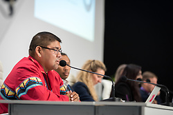 4 December 2019, Madrid, Spain: Rev. Glen Chebon Kernell speaks at a press conference held at COP25, reporting on the findings of an interfaith dialogue on 1 December.