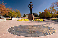 Dwight Eisenenhower Statue and the Great Seal of the United States of America at the Dwight D. Eisenhower Presidential Library and Museum Complex, Abilene, Kansas