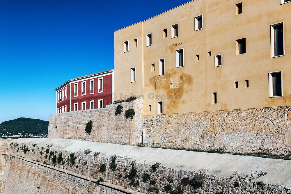 Ramparts surrounding Ibiza old town, Dalt Vila, Elvissa, Balearic islands, Spain.