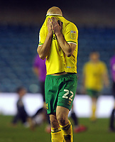 Football - 2020 / 2021 Sky Bet Championship - Millwall vs Norwich City - The Den<br /> <br /> Teemu Pukki of Norwich covers his face with his shirt after the match<br /> <br /> COLORSPORT/ANDREW COWIE