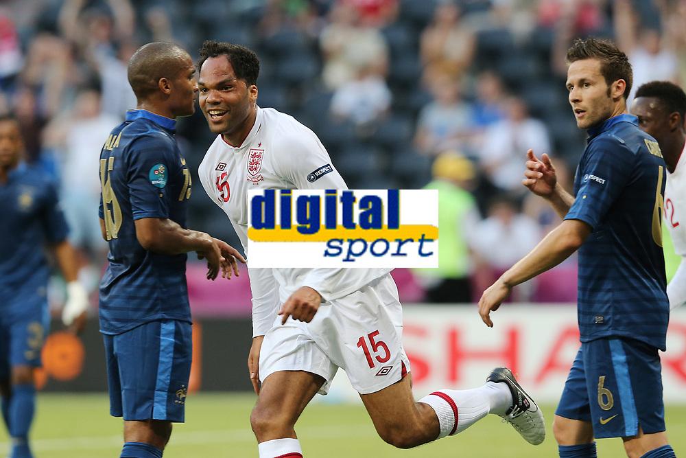 FOOTBALL - UEFA EURO 2012 - DONETSK - UKRAINE - GROUP STAGE - GROUP D - FRANCE v ENGLAND - 11/06/2012 - PHOTO PHILIPPE LAURENSON / DPPI - JOLEON LESCOTT (ANG) JOY AFTER HIS GOAL