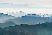 San Francisco downtown buildings can be seen from Mount Tamalpais in Marin County, California, USA. San Francisco is one of the most densely populated cities in America.