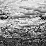 Tenaya Lake Basin - Big Sky Clouds Olmstead Point - Yosemite - HDR - Infrared Black & White