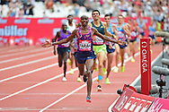 Sir Mo Farah wins the 3000m Men during the Muller Anniversary Games at the London Stadium, London, England on 9 July 2017. Photo by Jon Bromley.