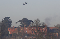 CAPTION CORRECTION © Licensed to London News Pictures. 04/12/2019. Watford, UK. US Marine One helicopter comes in to land behind The Grove Hotel where NATO leaders are meeting. World leaders are attending a series of events over the two day NATO summit which will mark the 70th anniversary of the alliance of nations. Photo credit: Peter Macdiarmid/LNP