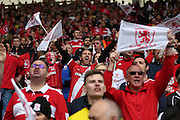 Middlesbrough fans during the Sky Bet Championship match between Middlesbrough and Brighton and Hove Albion at the Riverside Stadium, Middlesbrough, England on 7 May 2016.