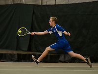 Gilford's Kyle Davies returns a shot during NHIAA Division III semi final tennis with Kearsarge on Friday afternoon at Gilford Hills Club.  (Karen Bobotas/for the Laconia Daily Sun)