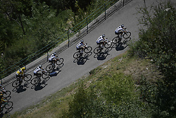 July 19, 2018 - Alpe D'Huez, FRANCE - Illustration picture shows the pack of riders in action during the twelfth stage in the 105th edition of the Tour de France cycling race, 175,5km from Bourg-Saint-Maurice Les Arcs to Alpe d'Huez, France, Thursday 19 July 2018. This year's Tour de France takes place from July 7th to July 29th...BELGA PHOTO YORICK JANSENS (Credit Image: © Yorick Jansens/Belga via ZUMA Press)